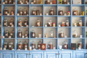 blue shelf cabinets