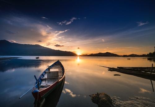 boat river sun